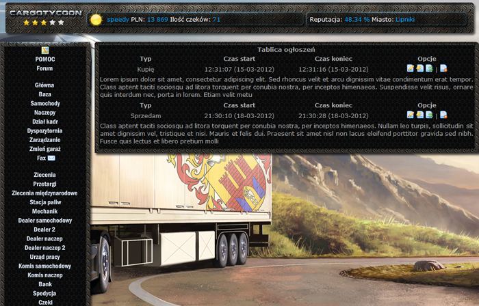 Notice board. Here you can add your notice about buying/selling vehicles, trailers.