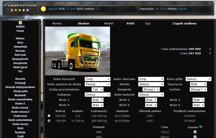Truck dealer. Buy new vehicles and choose their add-ons like ABS, cruise control, etc.
